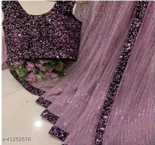 Women's Heavy Butterfly Net With 3 MM Sequences Pink Saree With Velvet 5 MM Hanging Sequences Work Blouse(5.5 Meter Saree_0.8 Meter Blouse