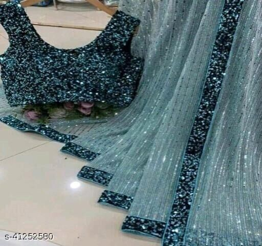 Women's Heavy Butterfly Net With 3 MM Sequences See Green Saree With Velvet 5 MM Hanging Sequences Work Blouse(5.5 Meter Saree_0.8 Meter Blouse