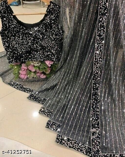 Women's Heavy Butterfly Net With 3 MM Sequences Black Saree With Velvet 5 MM Hanging Sequences Work Blouse(5.5 Meter Saree_0.8 Meter Blouse