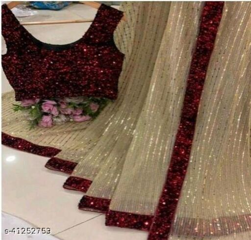 Women's Heavy Butterfly Net With 3 MM Sequences Cream Saree With Velvet 5 MM Hanging Sequences Work Blouse(5.5 Meter Saree_0.8 Meter Blouse