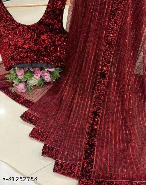 Women's Heavy Butterfly Net With 3 MM Sequences Red Saree With Velvet 5 MM Hanging Sequences Work Blouse(5.5 Meter Saree_0.8 Meter Blouse