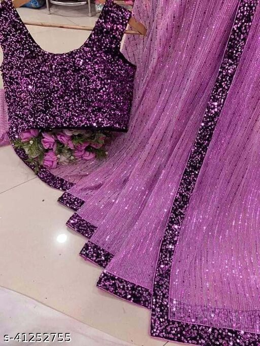 Women's Heavy Butterfly Net With 3 MM Sequences Rani Saree With Velvet 5 MM Hanging Sequences Work Blouse(5.5 Meter Saree_0.8 Meter Blouse
