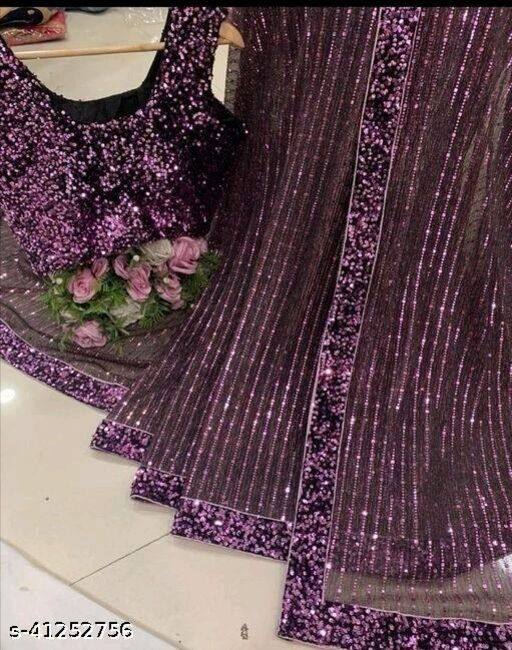 Women's Heavy Butterfly Net With 3 MM Sequences Maroon Saree With Velvet 5 MM Hanging Sequences Work Blouse(5.5 Meter Saree_0.8 Meter Blouse