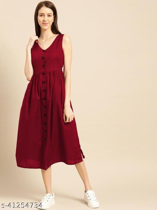 WOMEN RUBBY COTTON FANCY BUTTON Dresses