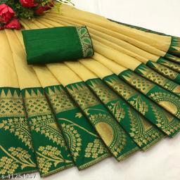 Jr Saree Chanderi Cotton Jacquard Lace Saree With Satin Silk Blouse