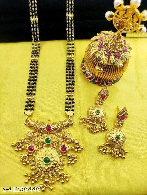A fancy mangalsutra in a haevy look with a 3 line sar