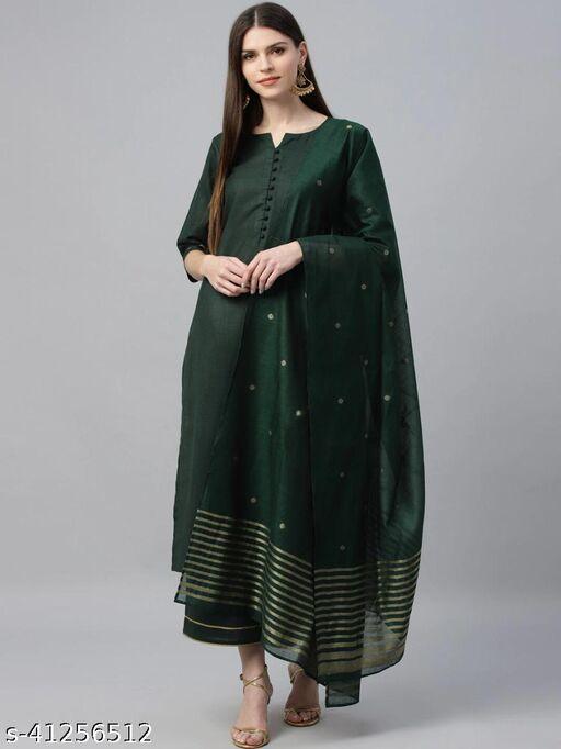 Anni Designer Green Color Ruby Cotton Plain Kurta, Bottom with Dupatta (GAME-GREEN-01 NEW)