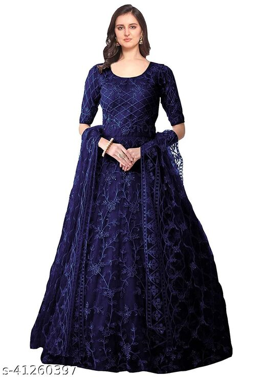 Zvany Semi Stitched Net Embroidery Gown With Dupatta