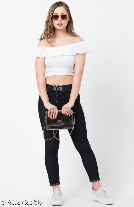 Flying Slim Fit Women Black Jeans For Girls