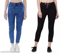 Flying Slim Fit Women Blue & Black Jeans For Girls ( Combo Pack Of 2 )