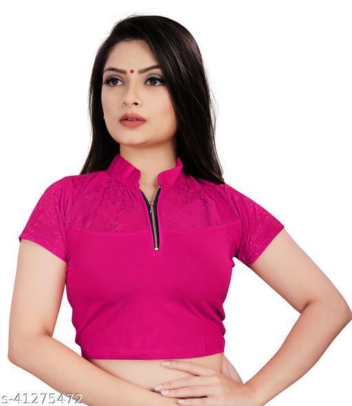 MD VILLA Women's Fashion Beige Cotton Lycra Stretchable Readymade Blouse