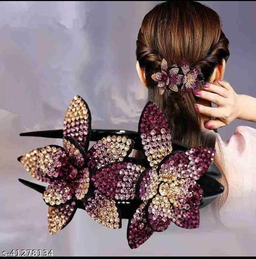 Ziory 1 Pc Rhinestone flower hair pin