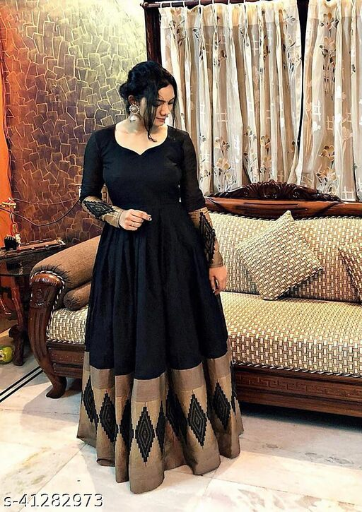 Marvellous Black Colored Partywear Rayon Gown
