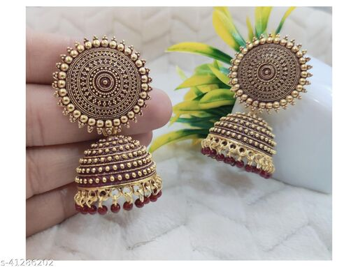 Latest Collection Kundan Jhumka earrings for Girls and Woman (Maroon Color)