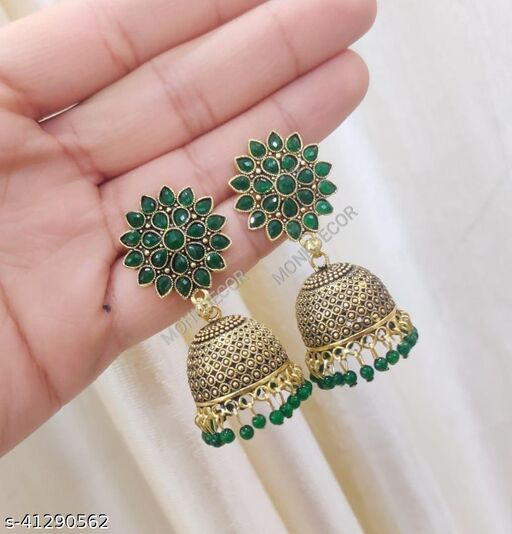 Latest Collection Sunflower Gold Jhumka earrings for Girls and Woman (Green Color)