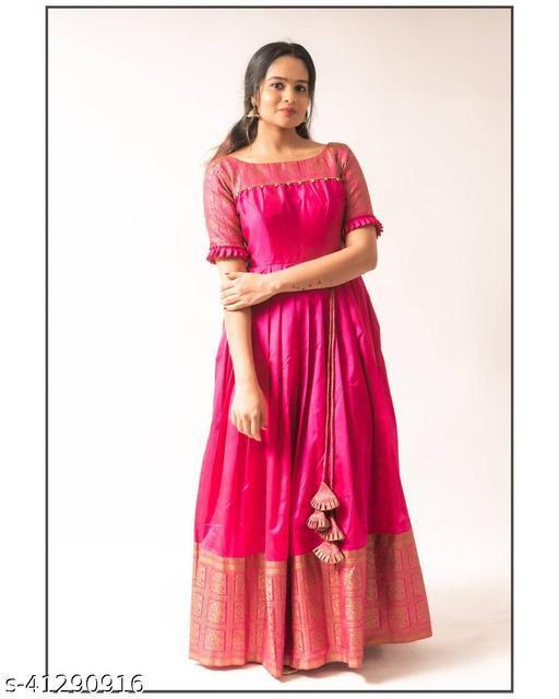 Glorious Gajari pink Colored Partywear Taffeta Silk Jacquard Gown
