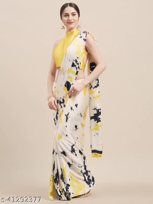 Saree mall White Yellow Daily Wear Japan Crepe Printed Saree With Unstitched Blouse