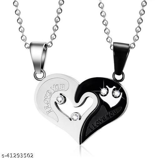 Fashion Frill Trendy Stylish Valentine Special Couple Black Pendant For Unisex