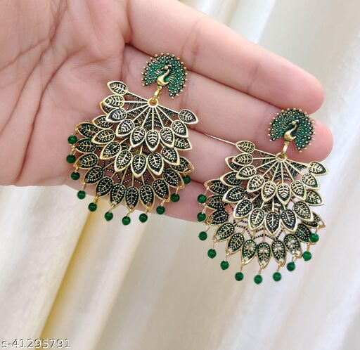 Latest Collection 3 Layer Morr earrings for Girls and Woman (Green Color)