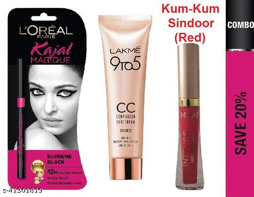 Lakme 9 To 5 Comlpexion CC Cream 9gm With Lakme Eye-Conic Deep Black Kajal And Red Liquid Kumkum Sindoor