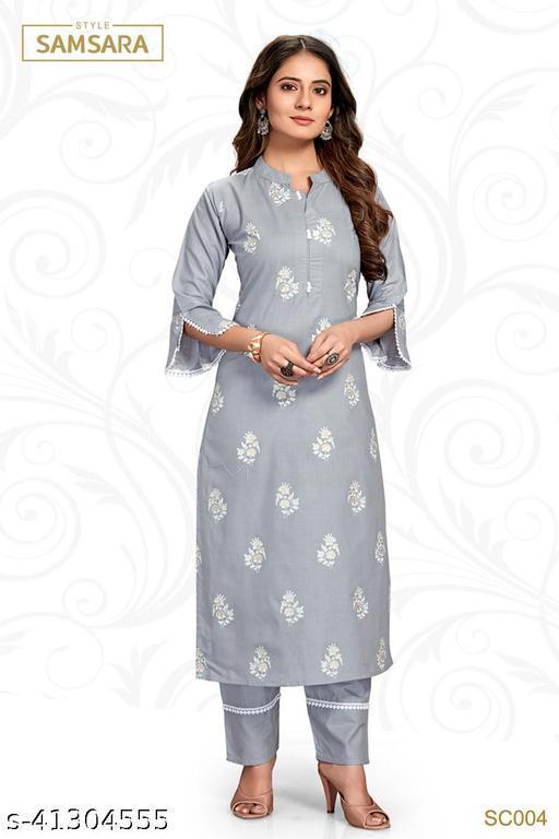 Style Samsara Women's Grey Block Print Kurta Set