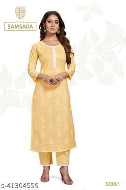 Style Samsara Women's Yellow Block Print Kurta Set