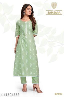 Style Samsara Women's Green Block Print Kurta Set