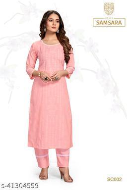 Style Samsara Women's Pink Block Print Kurta Set