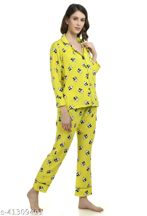 Printed Yellow Night Suit for Women