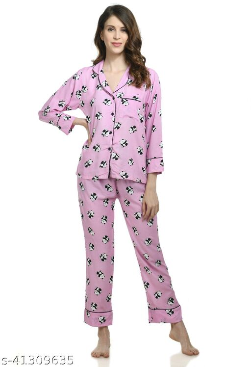 Printed Pink nightsuits for Women