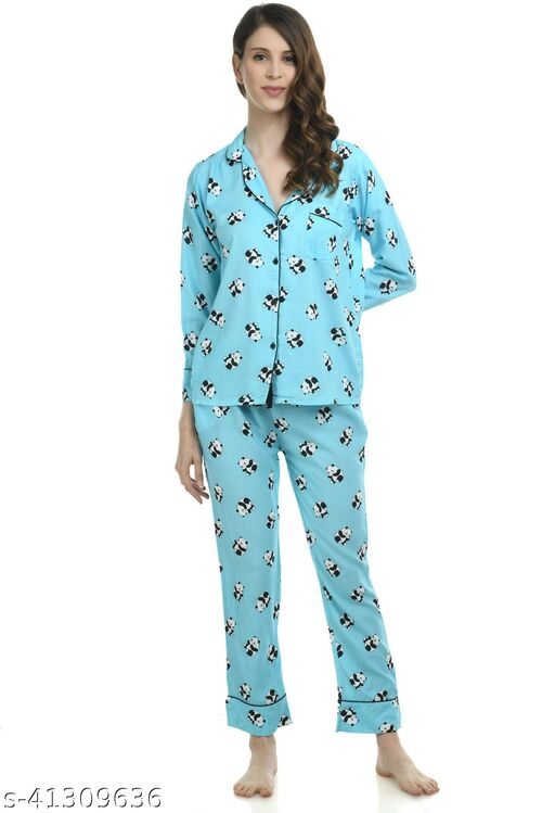 Printed Sky Blue nightsuits for Women