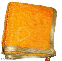 Trendy Art Silk Polka Dot's YELLOW Bandhej Dupatta with Versatile Golden Plain Lace Border with 2 Latkans