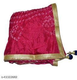 Trendy Art Silk Polka Dot's PINK Bandhej Dupatta with Versatile Golden Plain Lace Border with 2 Latkans