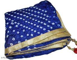 Trendy Art Silk Polka Dot's BLUE Bandhej Dupatta with Versatile Golden Plain Lace Border with 2 Latkans