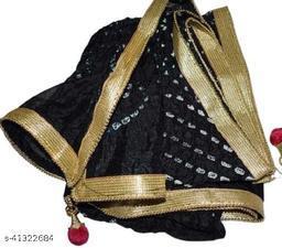 Trendy Art Silk Polka Dot's BLACK Bandhej Dupatta with Versatile Golden Plain Lace Border with 2 Latkans