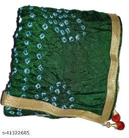 Trendy Art Silk Polka Dot's GREEN Bandhej Dupatta with Versatile Golden Plain Lace Border with 2 Latkans