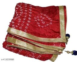 Trendy Art Silk Polka Dot's RED Bandhej Dupatta with Versatile Golden Plain Lace Border with 2 Latkans