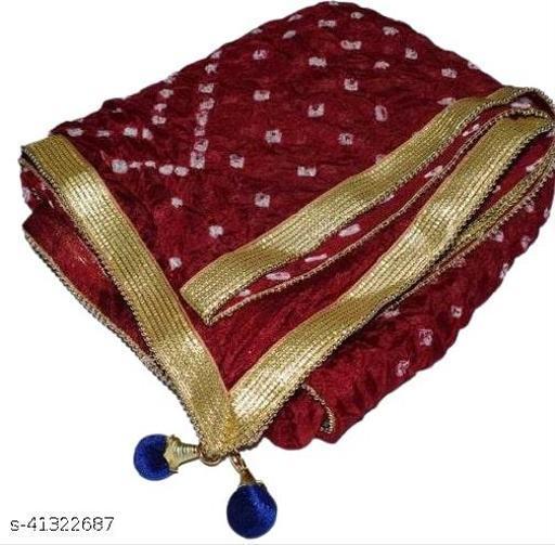 Trendy Art Silk Polka Dot's MAROON Bandhej Dupatta with Versatile Golden Plain Lace Border with 2 Latkans