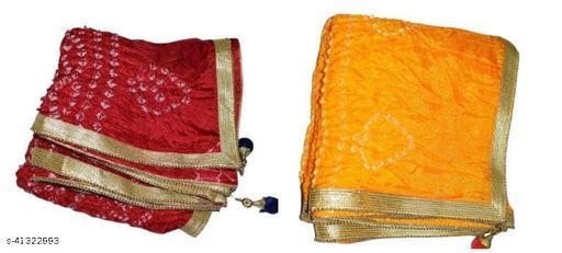 Trendy Art Silk Polka Dot's Combo RED, YELLOW Bandhej Dupatta with Versatile Golden Plain Lace Border with 2 Latkans