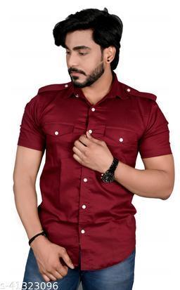 Allons-Y Let's go men's half sleeves Maroon cargo shirt .