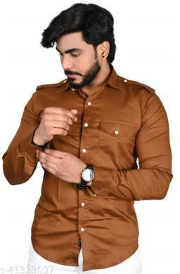 Allons-Y Let's go men's half sleeves L.Coffee cargo shirt .