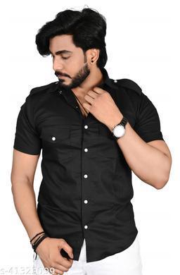 Allons-Y Let's go men's half sleeves Black cargo shirt .