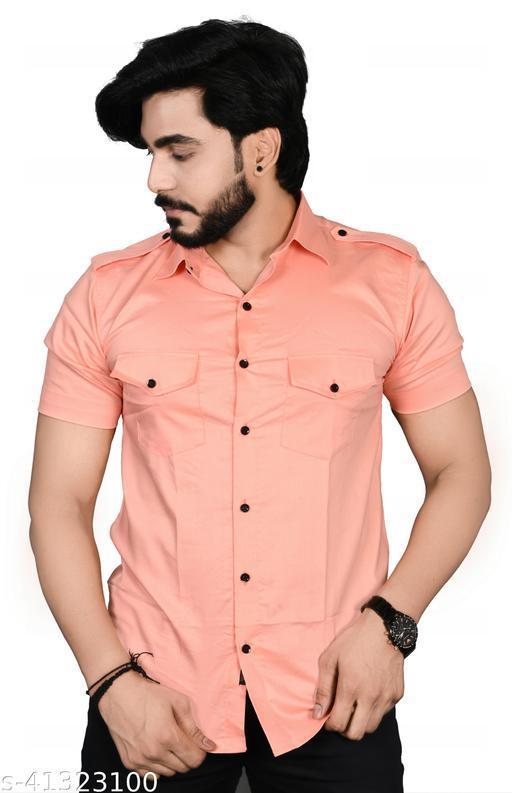 Allons-Y Let's go men's half sleeves Peach cargo shirt .
