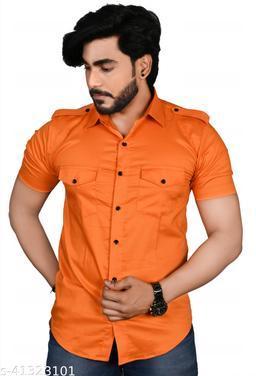 Allons-Y Let's go men's half sleeves Orange cargo shirt .
