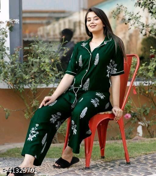 RAYON BEAUTIFUL PRINNTED NIGHT SUIT FOR WOMEN'S AND GIRLS