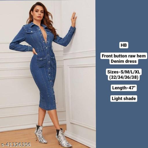 Raw hem front button denim dress by High-Buy-Dark shade