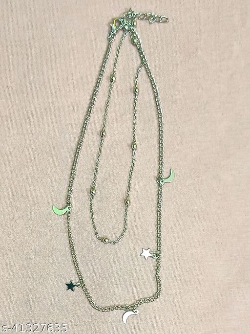 Womens Silver Beads Star Moon Two Layer Necklace (Silver)