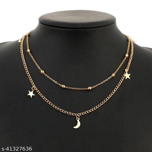 Womens Golden Beads Star Moon Two Layer Necklace (Gold)