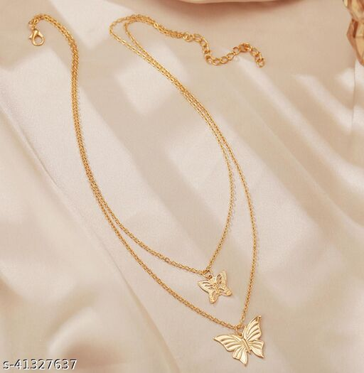 Womens Golden Double Butterfly Pendant Multilayer Necklace (Gold)