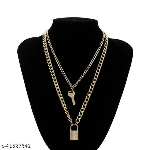 Womens Golden Lock key Two layers Chain Necklace (Gold)
